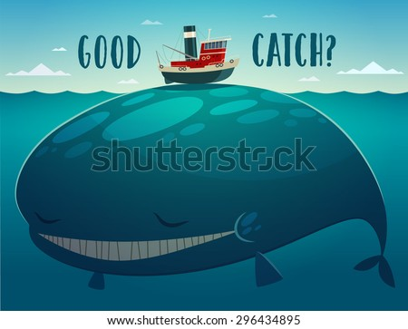 Good catch. Tugboat and whale. Vector illustration. - stock vector