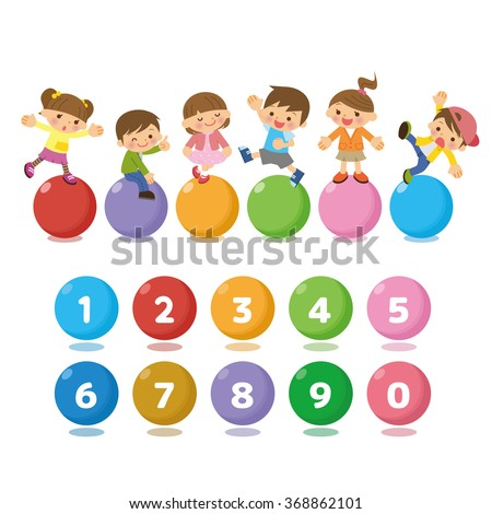 Good friend children and number. - stock vector