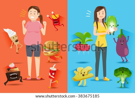 Good Healthy people often get care from a good diet. - stock vector
