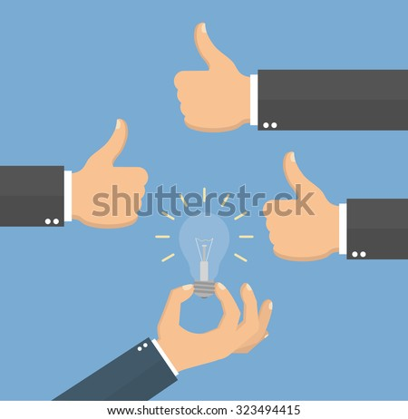 Good idea concept. Hand holding a lightbulb while other hands showing thumbs up hand sign. Flat style - stock vector