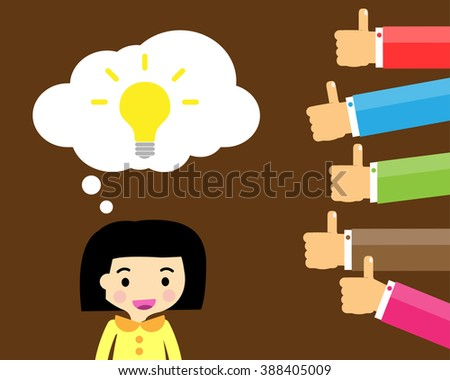 Good idea concept. Hand holding a lightbulb while other hands showing thumbs up hand sign. Flat style. Business strategy planning objects. businesswoman. Like hand sign. - stock vector