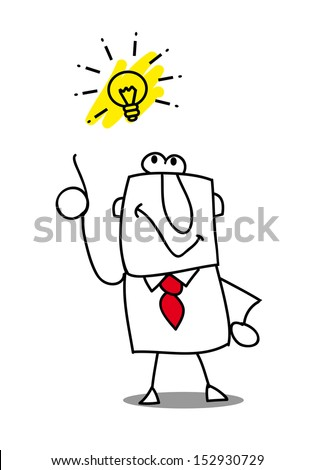 good idea. Joe has a good idea. this man is very creative  and intelligent - stock vector