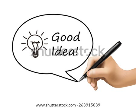good idea words with lighting bulb in speech bubble written by 3d hand - stock vector