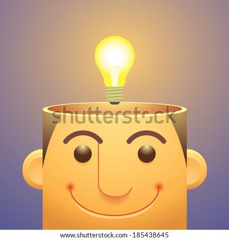 Good Ideas,Light Bulb Over Head - stock vector