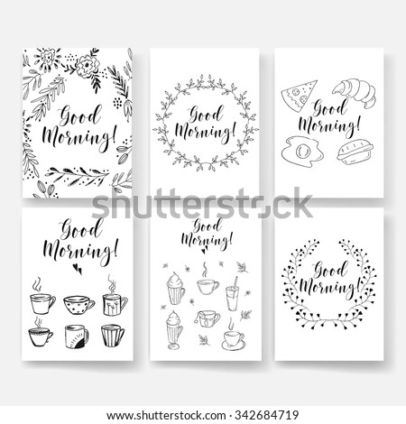 Good morning card, lettering text. Summer pattern. Vector floral set. Graphic collection with leaves and flowers, drawing elements. Spring or summer design for invitation, wedding or greeting cards - stock vector