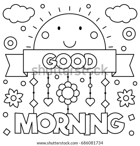 Good Morning Coloring Page Vector Illustration Vector de stock ...