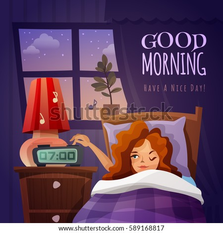 Good Morning Design Composition Awakening Cartoon Stock Vector