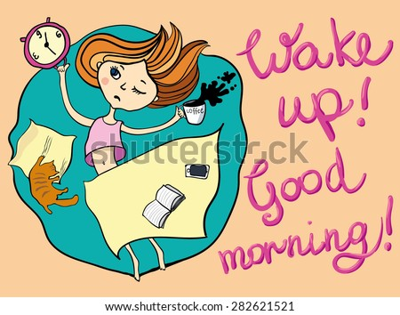 Good morning greeting card sleepy girl stock vector 282621521 good morning greeting card sleepy girl drinking coffee funny cartoon hand drawn illustration m4hsunfo