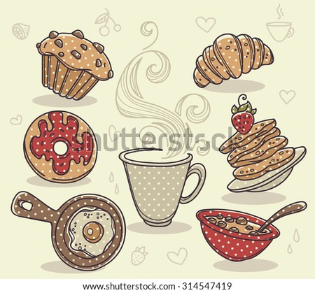 good morning, hand drawn collection of traditional breakfast meal - stock vector