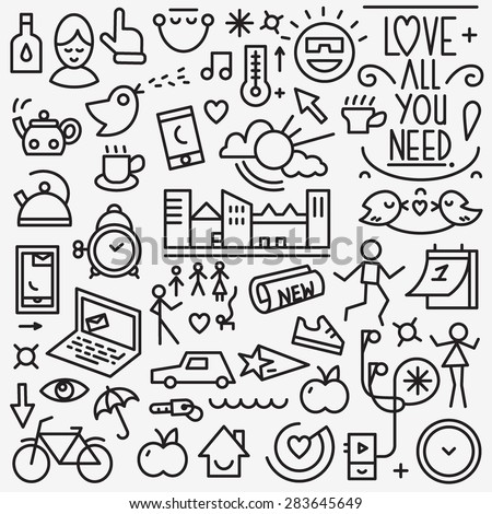 Good morning icons - stock vector