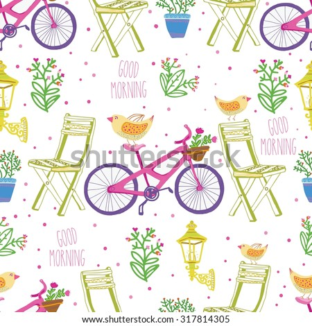 good morning in street with bike, yellow bird,  seamless pattern. Beautiful background  - stock vector