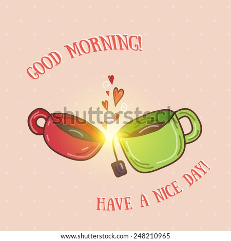 Good morning - kissing cups vector illustration - stock vector