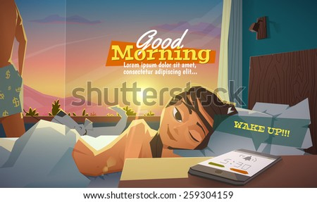 Good morning, lady wake up - stock vector