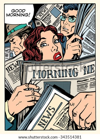 good morning news press crowd metro transport bus pop art retro style. The morning Newspapers. Tube on the road and passengers - stock vector