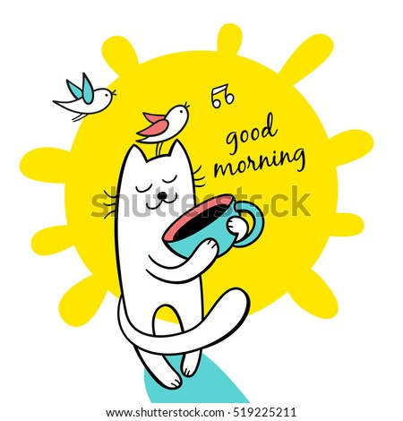 Good morning sunny day funny cat stock photo photo vector good morning sunny day funny cat hold a cap of coffee cute character m4hsunfo