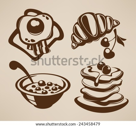 good morning, vector collection of traditional breakfast meal - stock vector