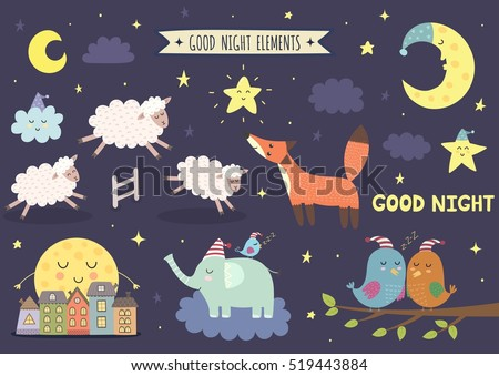 good night isolated elements your design stock vector (2018