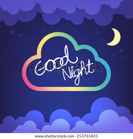 Good night letter with cloud and sky vector - stock vector