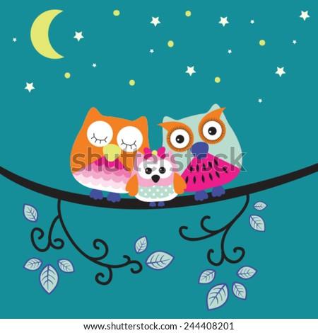 good night owl family vector illustration - stock vector