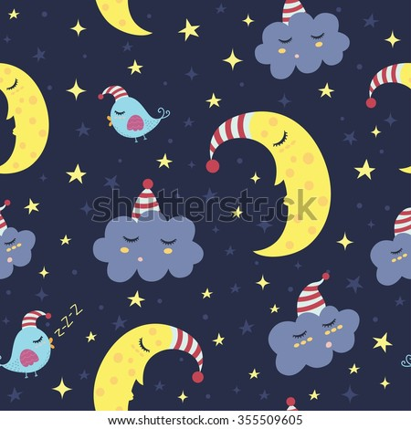 Good night seamless pattern. Vector illustration