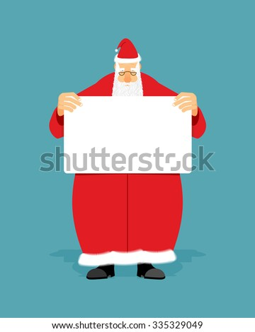 Good Santa Claus holding blank sign with space for text. Christmas man with white paper. Christmas Santa in red coat with  white banner. - stock vector