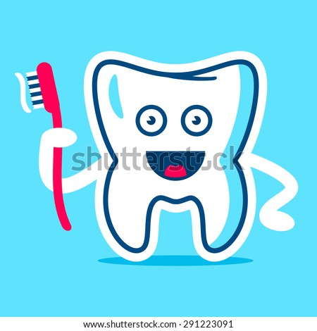 Good Tooth with the brush in the hand image on a sky background. Fully editable vector illustration. Perfect for children and health care pictures, patterns, tables, boards, etc. - stock vector