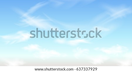 Good weather background. Spring sunny weather cloudscape. Blue sky with clouds. Sky Nature Landscape Background. Fluffy white clouds. Realistic clouds. Vector illustration.