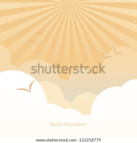 Good weather background : the ray burst in evening
