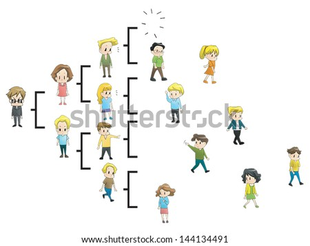 Goodbye MLM. The multi level marketing referral network is breaking off and people quit the business by many causes. (cartoon vector)  - stock vector