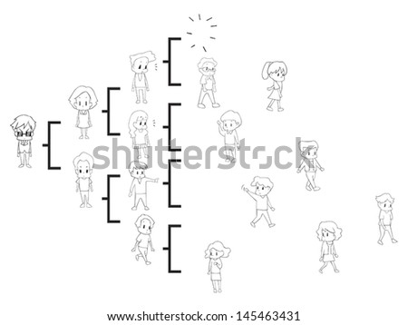 Goodbye MLM. The multi level marketing referral network is breaking off and people quit the business by many causes. (cartoon vector in black and white silhouette )