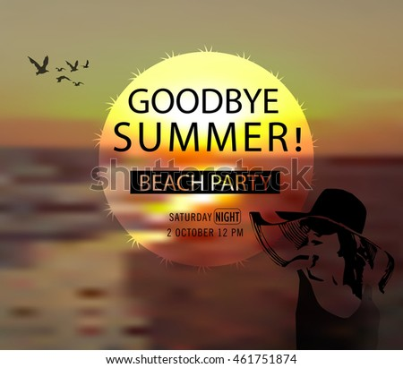 Goodbye Summer, Typographical Vector Background
