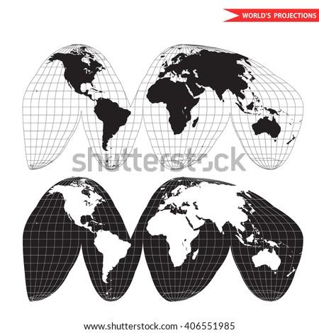 Goode homolosine projection. Orange peel world map on white background. Interrupted earth globe. - stock vector