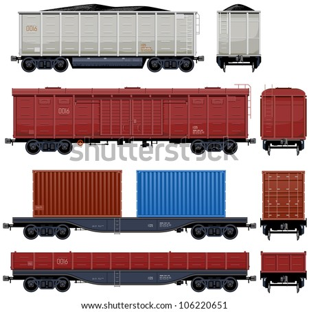 Goods Van  (Train #6) Pixel optimized. Elements are in the separate layers. In the side, back and front views. - stock vector