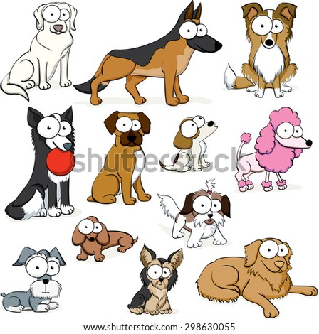 Googly Eyed Dogs - stock vector