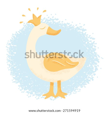 Goose with a crown - stock vector