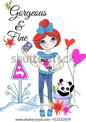 Gorgeous and fine. quotes design cute giri and with panda for t-shirt  - stock vector