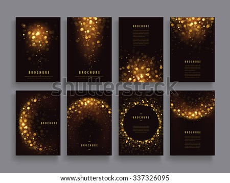 gorgeous brochure template design set with glitter paillette elements - stock vector