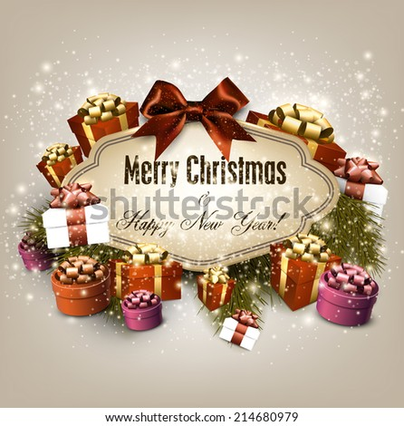 Gorgeous Christmas gift card with ribbon and Christmas gift boxes. Vector illustration. - stock vector