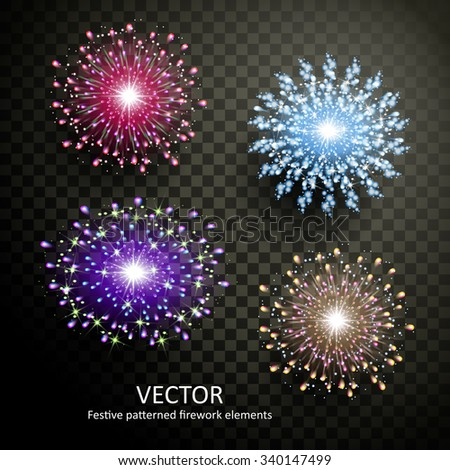 gorgeous colorful fireworks collection on transparent background - stock vector