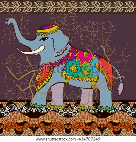 Gorgeous India. Stylized old batik pattern with shabby effect. Seamless pattern with hand drawn Indian elephant, animal prints and geometric border. Oriental textile collection. Vector EPS 10. - stock vector