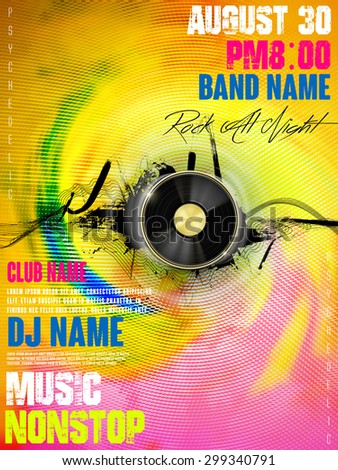 gorgeous music party poster design with vinyl records elements - stock vector