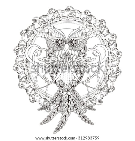 gorgeous owl coloring page in exquisite style - stock vector
