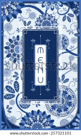 gorgeous restaurant menu design with flowers in blue and white - stock vector