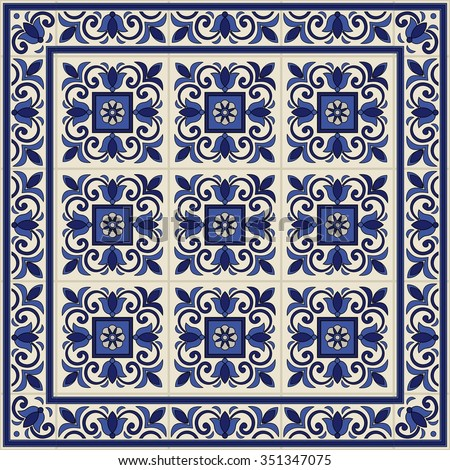 Gorgeous seamless pattern from tiles and border. Moroccan, Portuguese, Azulejo ornaments. Can be used for wallpaper, pattern fills, web page background,surface textures.  - stock vector