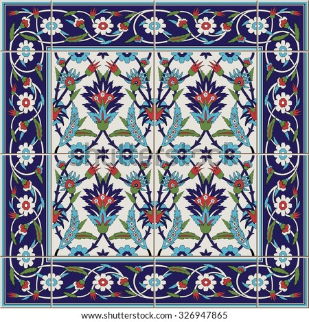 Gorgeous seamless  pattern from tiles and border. Moroccan, Portuguese,Turkish, Azulejo ornaments. Can be used for wallpaper, pattern fills, web page background,surface textures.  - stock vector