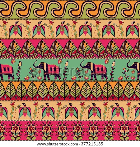 Gorgeous seamless pattern in the bohemian style. Tribal print with hand drawn elements: birds, elephants, flowers, leaves, and more. Repeating ethnic background. Indian, arabic, african motif. Vector - stock vector