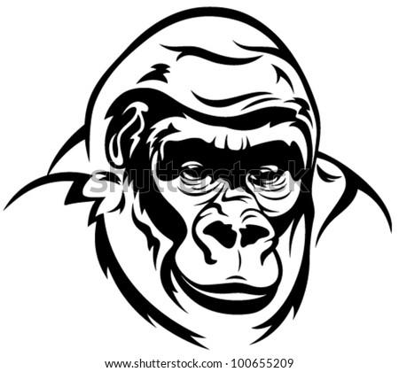 gorilla ape vector illustration - black and white outline - stock vector