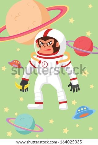 Gorilla astronaut - stock vector