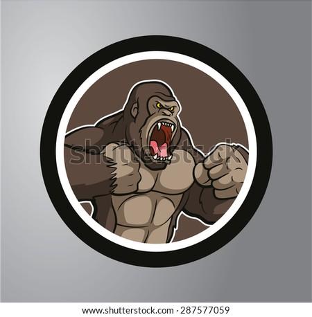 Gorilla circle sticker - stock vector