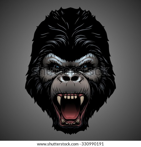 Gorilla head - stock vector